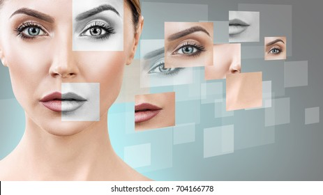 Woman's face collected from different parts.