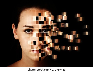 A woman's face is disintegrating into small squares.