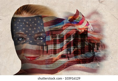 A woman's face has the american flag on it with a collage of a government building and bald eagle. The flag is blowing on a texture background.