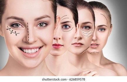Woman's faces with lifting arrows