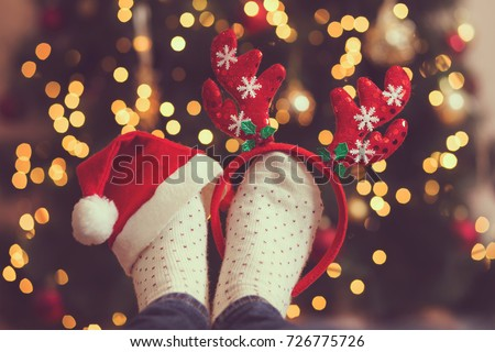 0463116efc2 Womans Feet Wearing Warm Winter Socks Stock Photo (Edit Now ...