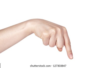 woman's finger pointing or touching isolated