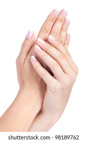 Woman's french manicure