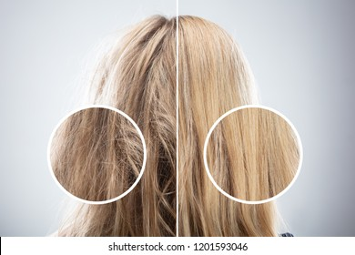 Woman's Hair Before And After Hair Straightening On Grey Background