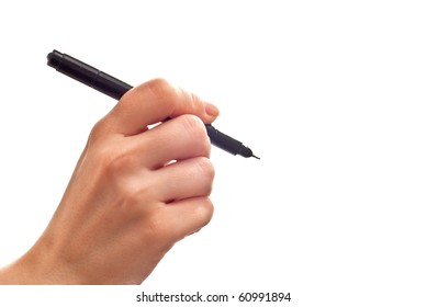Woman's hand with black pen isolated on white