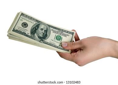 woman's hand gives several banknotes