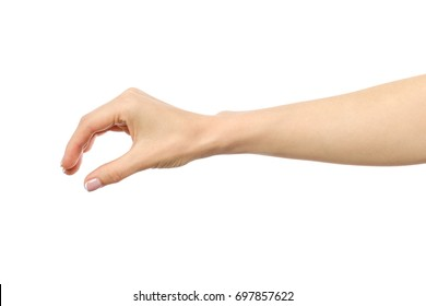 Woman's hand grabbing or measuring something isolated on white