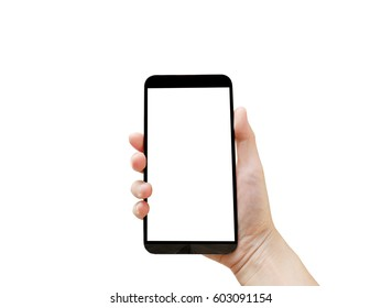 Woman's hand holding blank mobile phone isolated on white background (with clipping path)