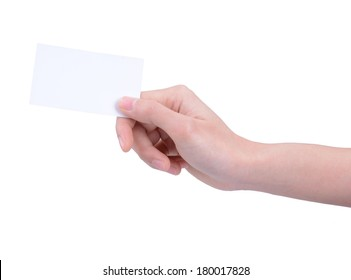 A woman's hand holding a card