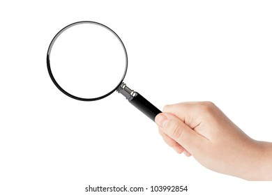 Woman's hand, holding classic styled magnifying glass, closeup isolated on white background, copy space for your image or text