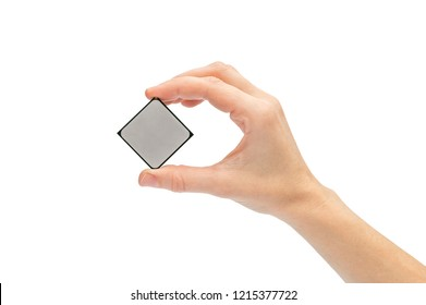 Woman's hand holding computer processor. Isolated on white.