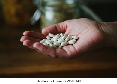 Womans hand holding dried beans