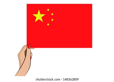 A womans hand holding the flag of China