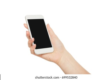 Woman's hand holding mobile phone isolated on white background, close-up, cutout, copy space on the screen