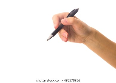 Woman's hand holding a pen