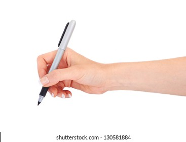 Woman's hand holding a pen on a white white background