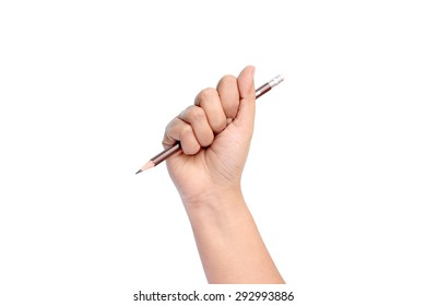 A woman's hand holding a pencil