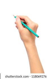 Woman's hand holding a pencil on a white background