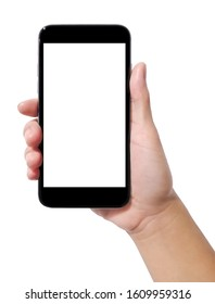 Woman's hand holding a smart phone on a white background