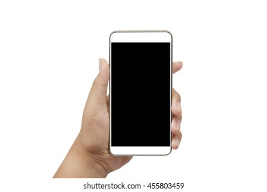 Woman's hand holding a smartphone with a blank screen.