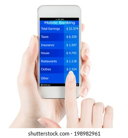 Womans hand holding smartphone with mobile banking information on a screen