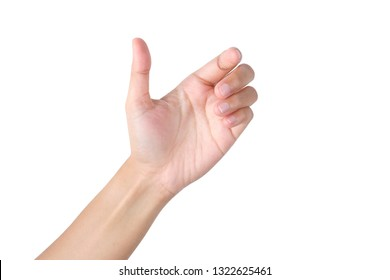 Woman's hand holding something on isolated with clipping path.