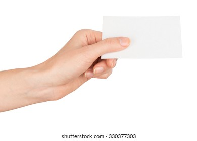 Womans hand holding vertical small empty card on isolated white background