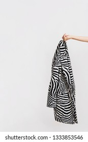 Woman`s hand holds zebra patterned coat. Abstract conception, studio shot on white background.