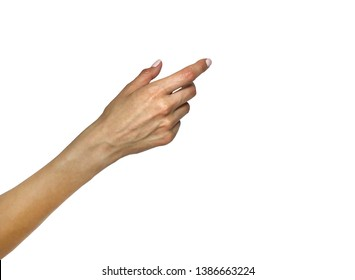 Woman's hand isolated on white background. Right hand on an empty background is a blank form which can be used for pointing at something, pressing the button, swiping the smartphone etc.