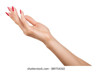 womans hand on white background
