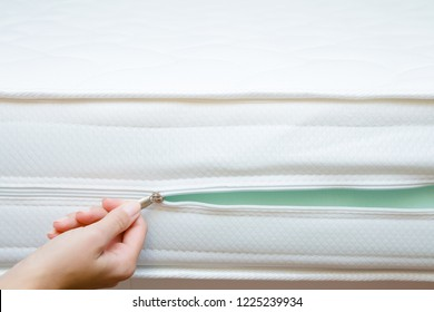 Woman's hand opening cover of new mattress with zipper. Checking hardness and softness. Choice of the best type and quality. Front view. Close up.