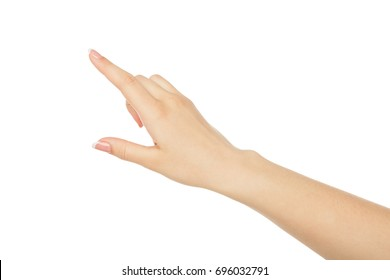 Woman's hand pointing on object with forefinger, close-up, cutout, isolated on white background.
