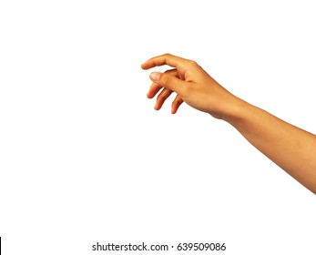 The woman's hand reaches out to grab something.
