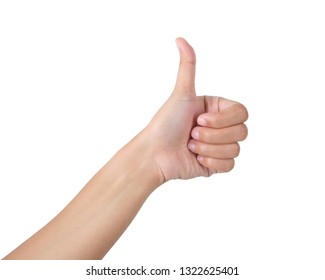 Woman's hand showing is likeable feeling on isolated with clipping path.