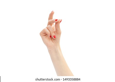 Woman's hand snapping by fingers. Isolated on white.