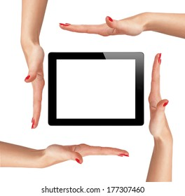 Woman's hand and tablet isolated on white background