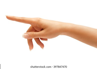 Woman's hand touching or pointing to something isolated on white background. Close up