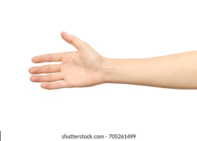 Woman's hand who is willing to make a deal isolated on white