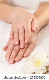 Woman's hands after a manicure in a nail salon