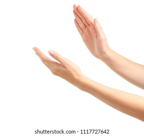 Woman's hands applause on white background isolation
