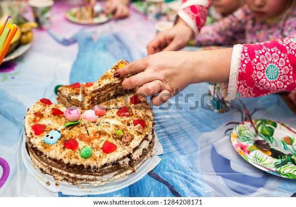 Strange Womans Hands Cut Cake Birthday Cake Stock Photo Edit Now 1284208171 Birthday Cards Printable Opercafe Filternl