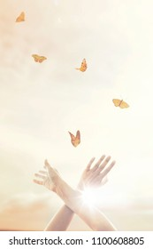 woman's hands dance in harmony with some butterflies in the sky