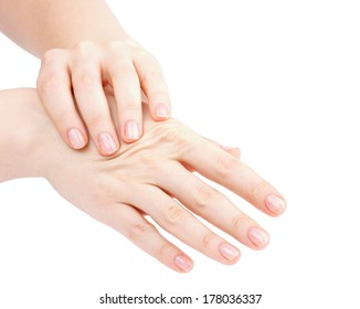 Woman's Hands Doing Self Massage by Bones of Handbreadth isolated on white background