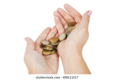 Woman's hands with euro coins isolated on white