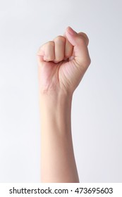 Woman's hands with fist gesture front side