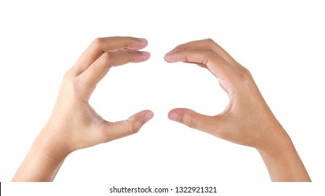 Woman's hands gesture holding hamburger on isolated with clipping path.