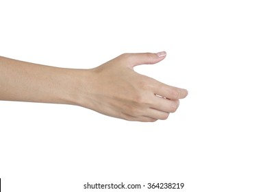Woman's hands giving her hand for handshake, back side, isolated on white background.