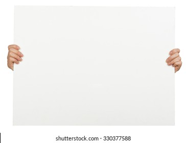 Womans hands holding horizontal blank paper on isolated white background