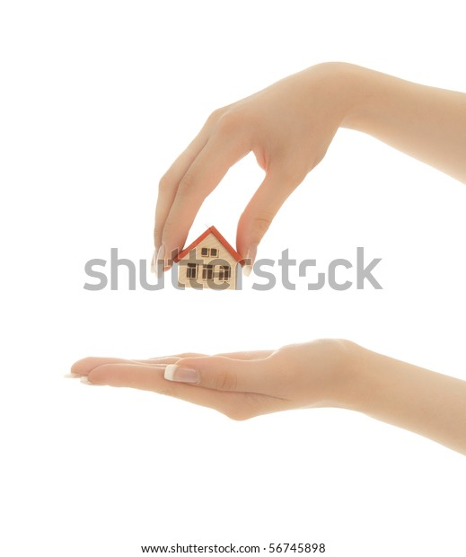 Womans Hands Holding Toy House Keys Stock Photo (Edit Now