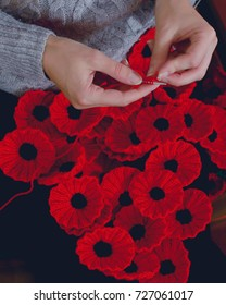 Woman's Hands Knitting Poppies A for Charity, Knitting to Support Remembrance Sunday - Armistice Day (11 November), Shallow Depth of Field Split Toning Haze Photography